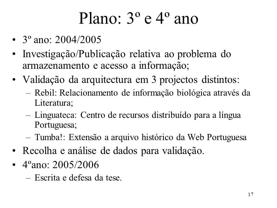 17 Plano: 3º e 4º ano 3º ano: 2004/2005 Investigação/Publicação relativa ao problema do armazenamento e acesso a informação; Validação da arquitectura