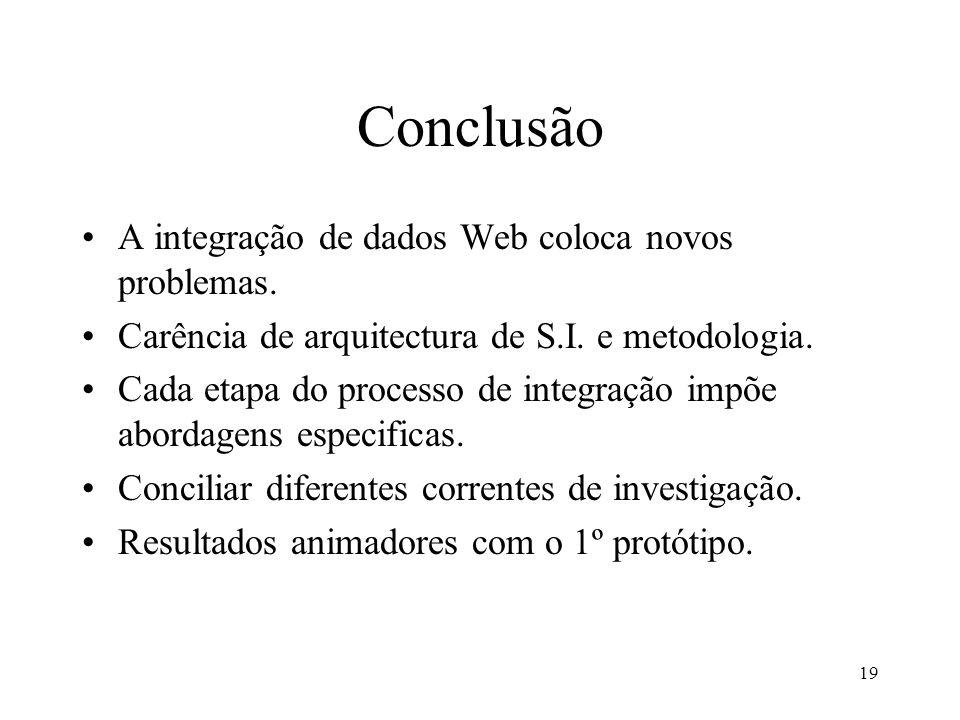 19 Conclusão A integração de dados Web coloca novos problemas. Carência de arquitectura de S.I. e metodologia. Cada etapa do processo de integração im