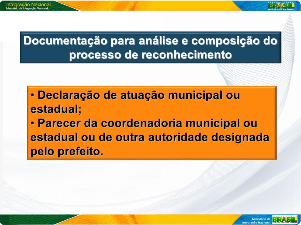 Declaração de atuação municipal ou estadual; Declaração de atuação municipal ou estadual; Parecer da coordenadoria municipal ou estadual ou de outra a