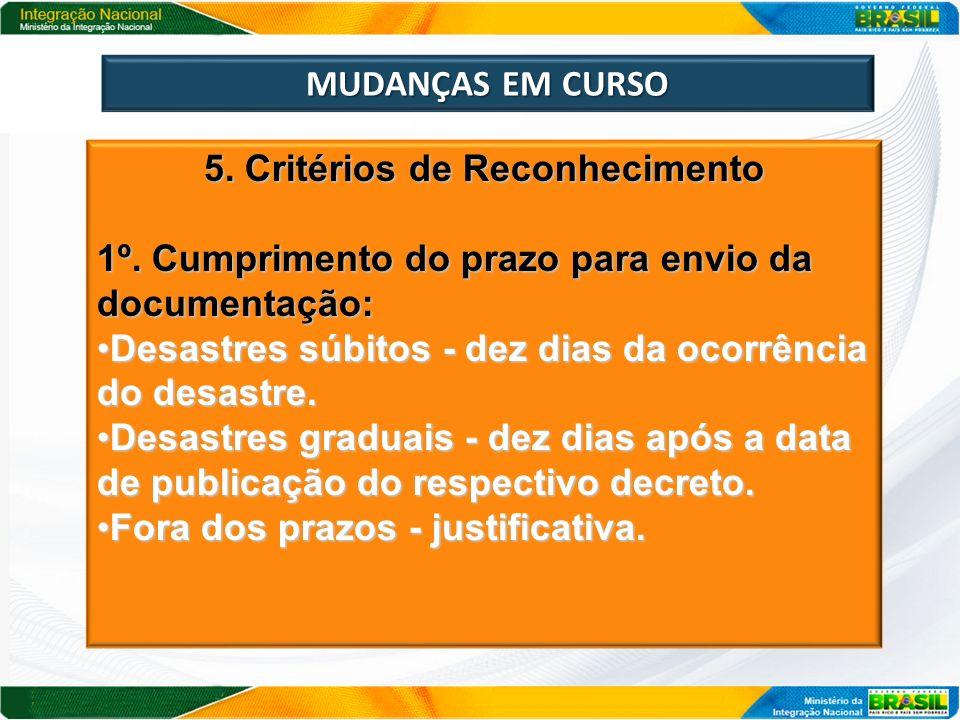 MUDANÇAS EM CURSO 5. Critérios de Reconhecimento 1º. Cumprimento do prazo para envio da documentação: Desastres súbitos - dez dias da ocorrência do de