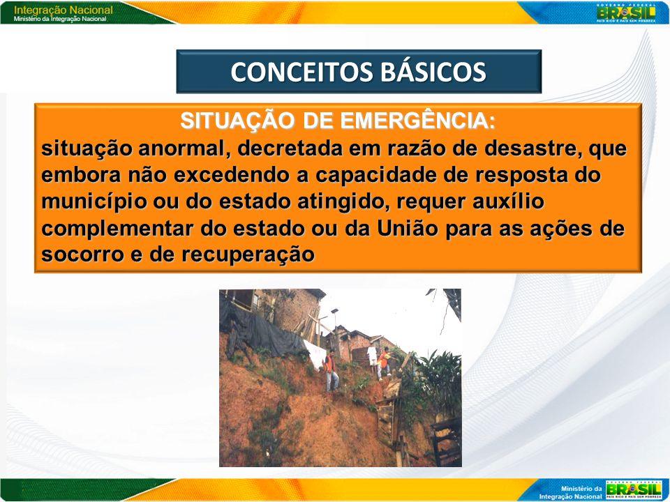 CONCEITOS BÁSICOS SITUAÇÃO DE EMERGÊNCIA: situação anormal, decretada em razão de desastre, que embora não excedendo a capacidade de resposta do munic