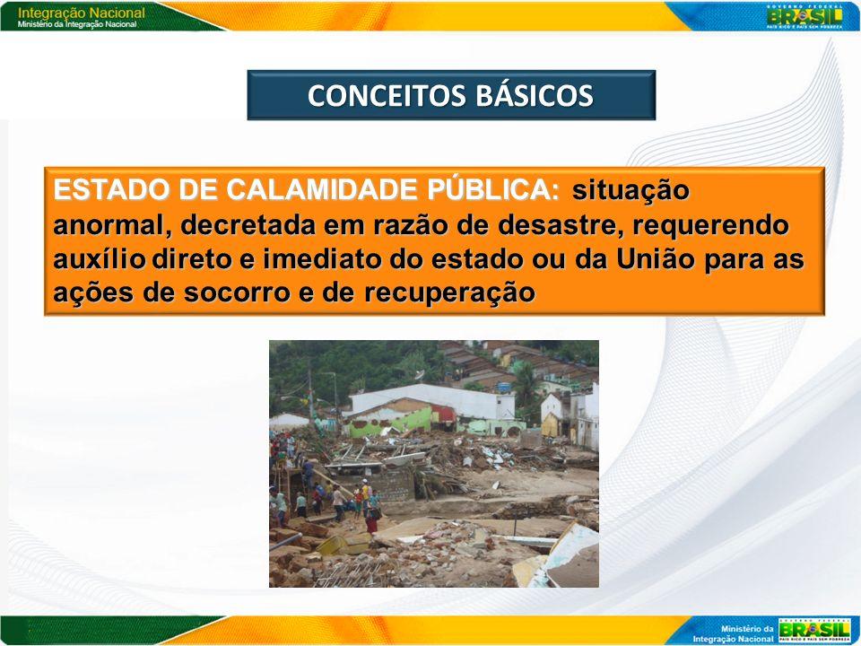 CONCEITOS BÁSICOS ESTADO DE CALAMIDADE PÚBLICA: situação anormal, decretada em razão de desastre, requerendo auxílio direto e imediato do estado ou da