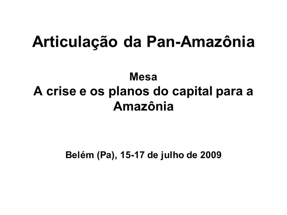 Articulação da Pan-Amazônia Mesa A crise e os planos do capital para a Amazônia Belém (Pa), 15-17 de julho de 2009