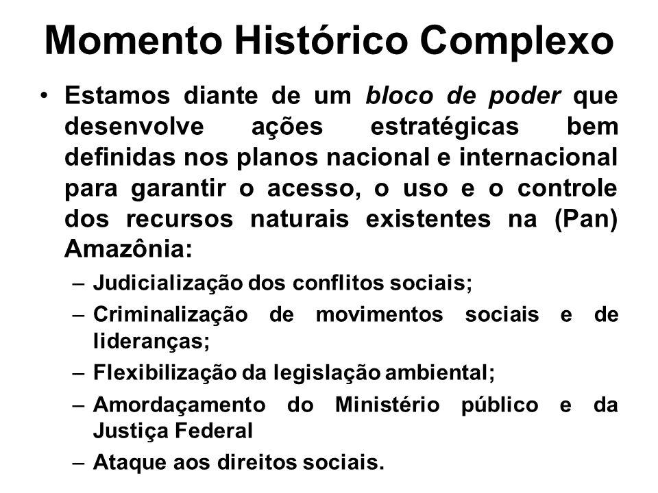Momento Histórico Complexo Estamos diante de um bloco de poder que desenvolve ações estratégicas bem definidas nos planos nacional e internacional par