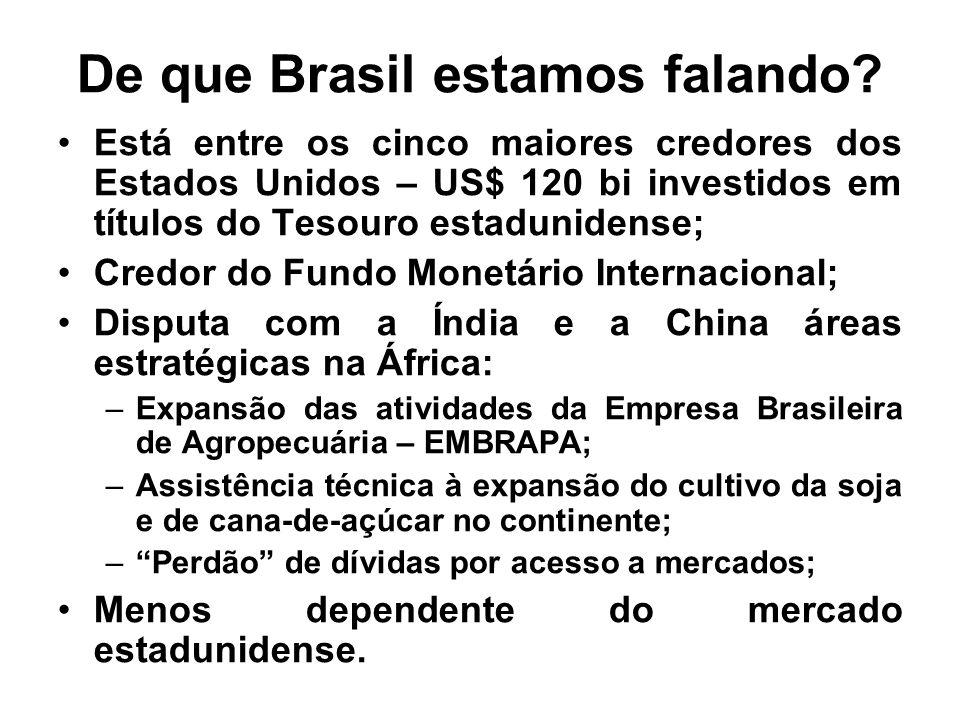 De que Brasil estamos falando? Está entre os cinco maiores credores dos Estados Unidos – US$ 120 bi investidos em títulos do Tesouro estadunidense; Cr