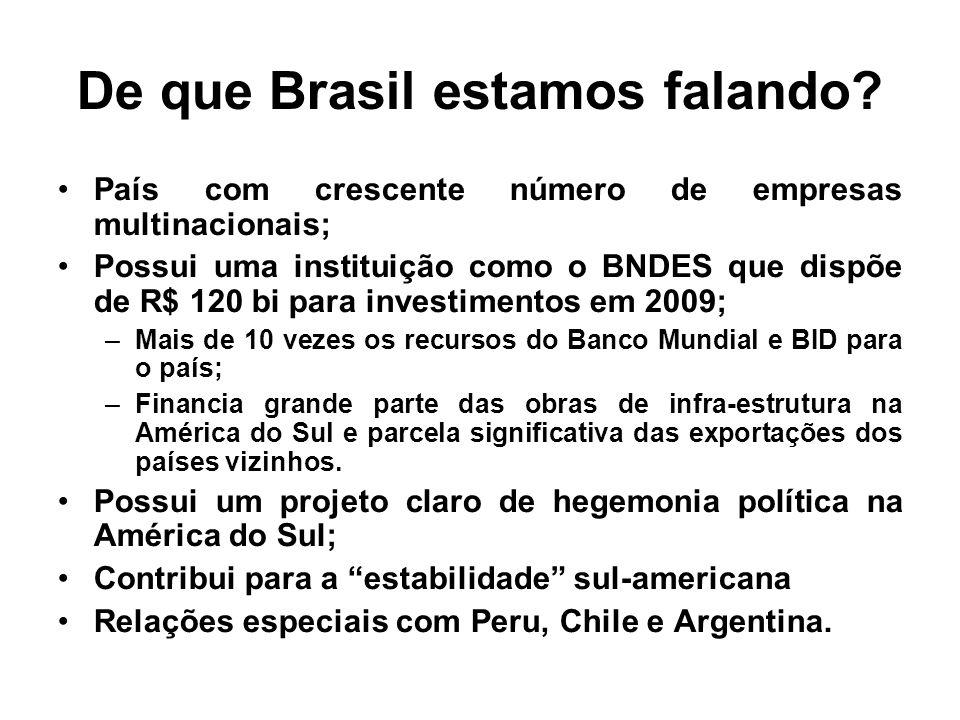 De que Brasil estamos falando? País com crescente número de empresas multinacionais; Possui uma instituição como o BNDES que dispõe de R$ 120 bi para