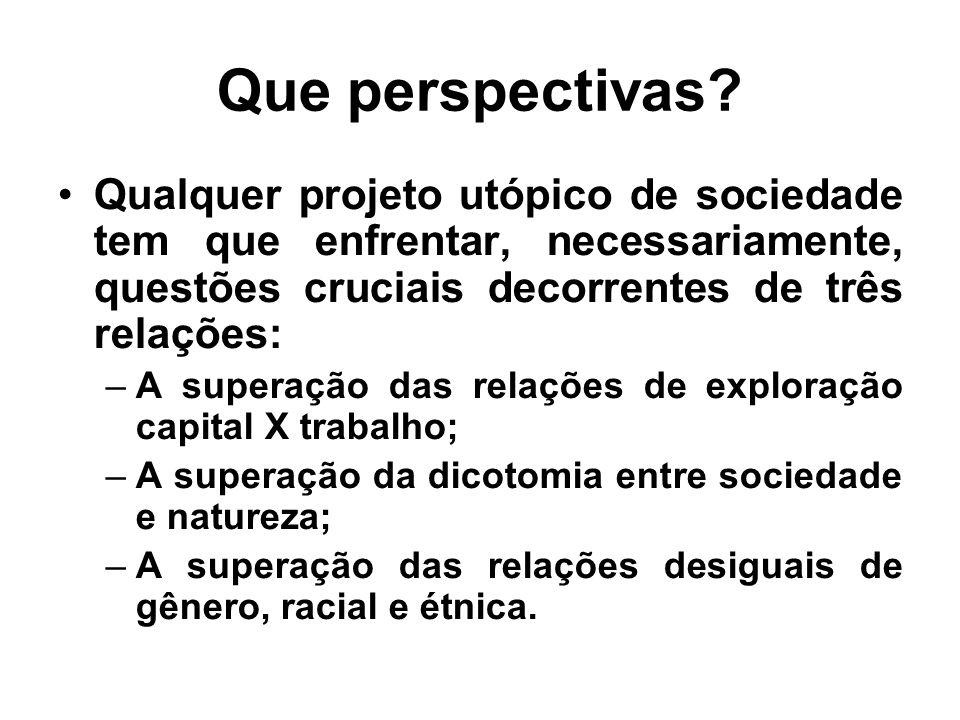 Que perspectivas? Qualquer projeto utópico de sociedade tem que enfrentar, necessariamente, questões cruciais decorrentes de três relações: –A superaç