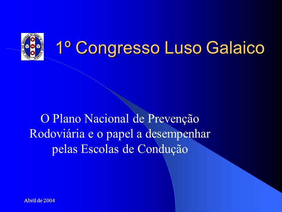 Abril de 2004 1º Congresso Luso Galaico O Plano Nacional de Prevenção Rodoviária e o papel a desempenhar pelas Escolas de Condução