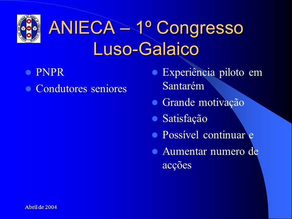 Abril de 2004 ANIECA – 1º Congresso Luso-Galaico PNPR Condutores seniores Experiência piloto em Santarém Grande motivação Satisfação Possível continua