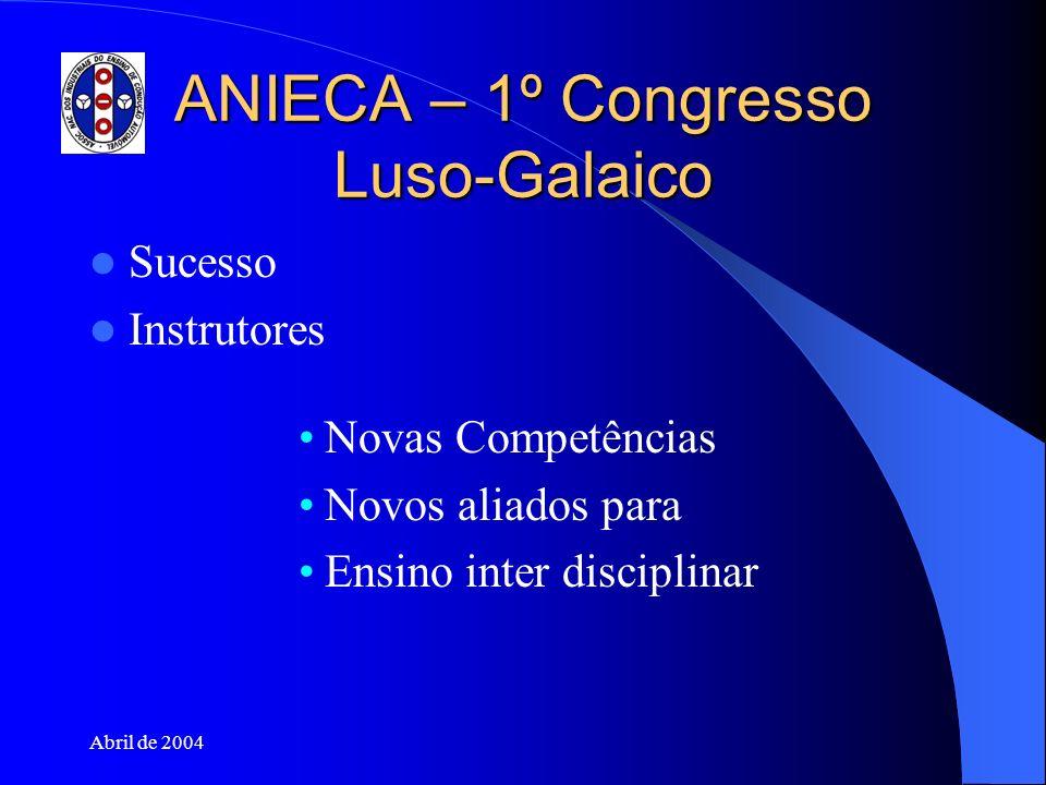 Abril de 2004 ANIECA – 1º Congresso Luso-Galaico Sucesso Instrutores Novas Competências Novos aliados para Ensino inter disciplinar