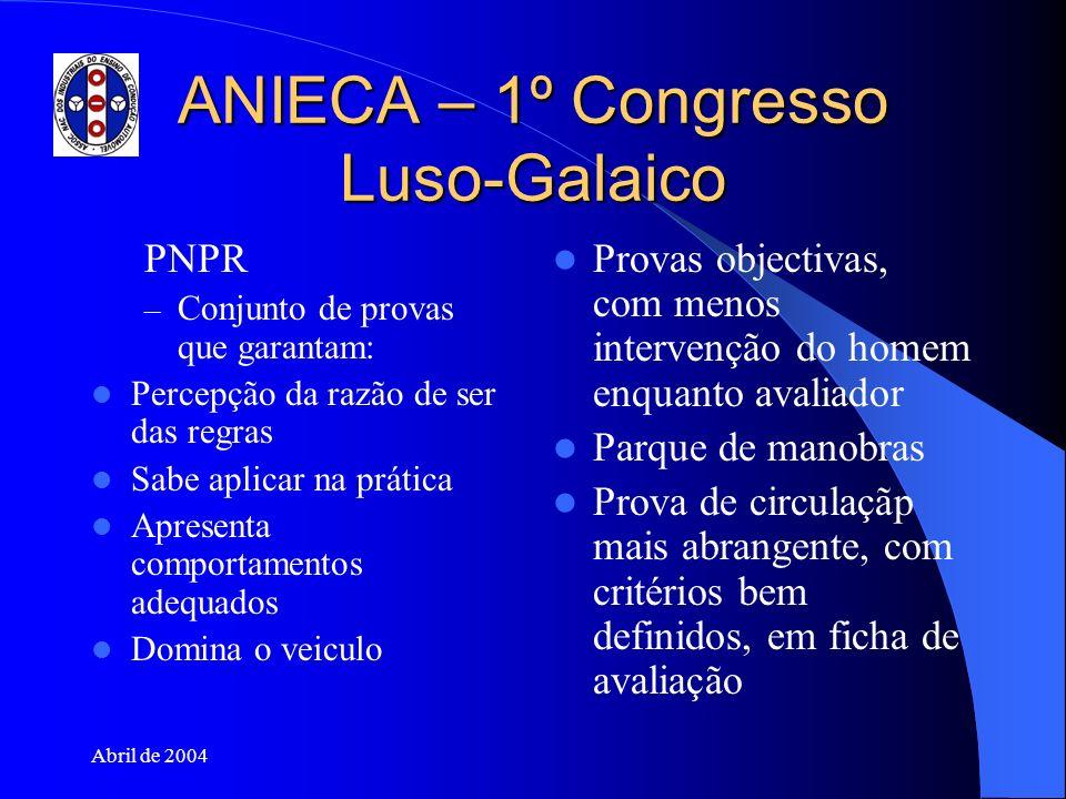 Abril de 2004 ANIECA – 1º Congresso Luso-Galaico PNPR – Conjunto de provas que garantam: Percepção da razão de ser das regras Sabe aplicar na prática