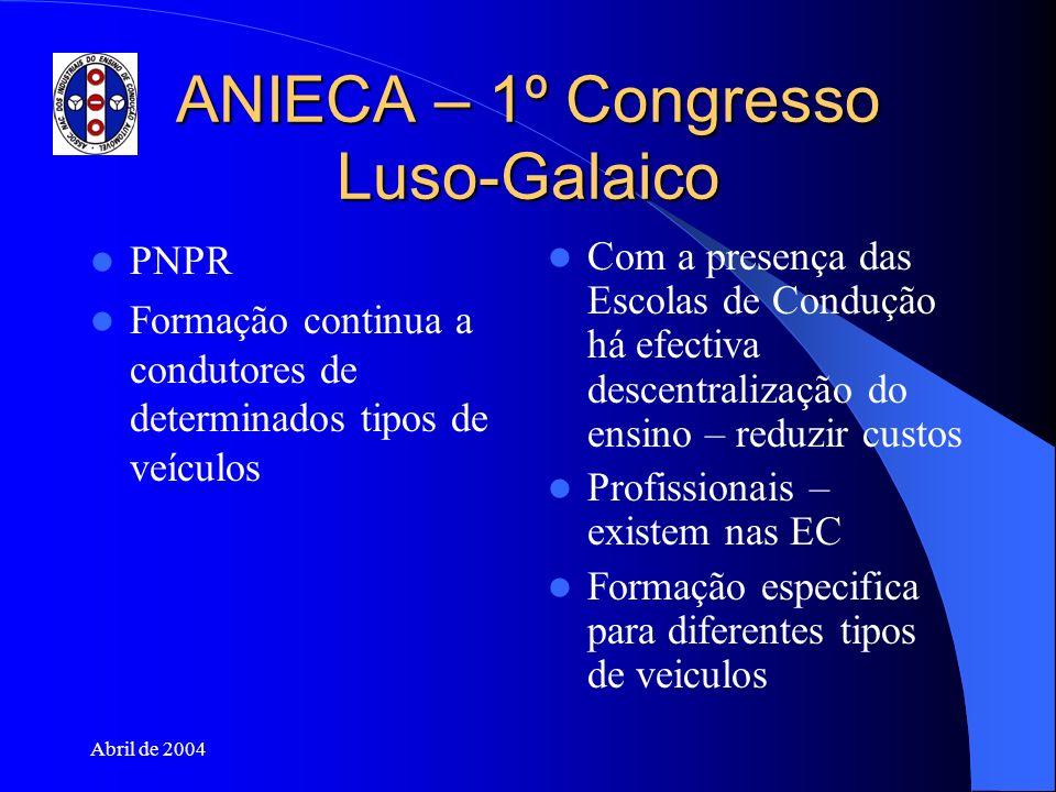 Abril de 2004 ANIECA – 1º Congresso Luso-Galaico PNPR Formação continua a condutores de determinados tipos de veículos Com a presença das Escolas de C