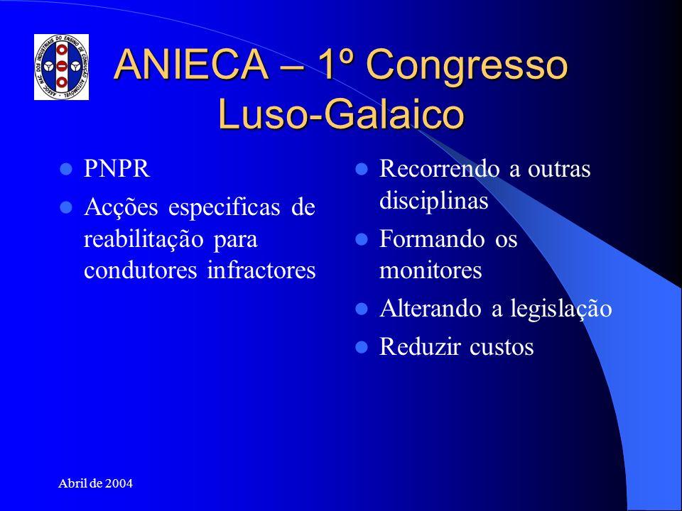 Abril de 2004 ANIECA – 1º Congresso Luso-Galaico PNPR Acções especificas de reabilitação para condutores infractores Recorrendo a outras disciplinas F