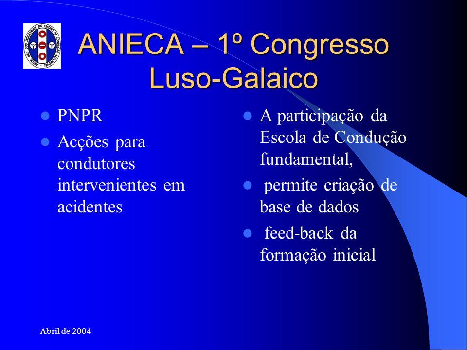 Abril de 2004 ANIECA – 1º Congresso Luso-Galaico PNPR Acções para condutores intervenientes em acidentes A participação da Escola de Condução fundamen