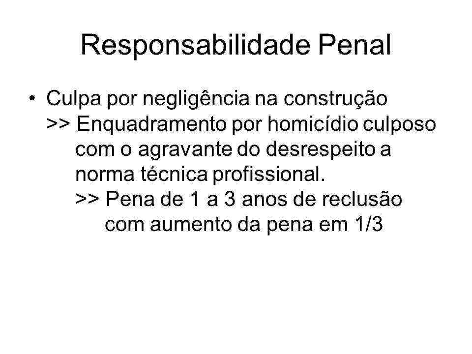 Responsabilidade Penal Culpa por negligência na construção >> Enquadramento por homicídio culposo com o agravante do desrespeito a norma técnica profi