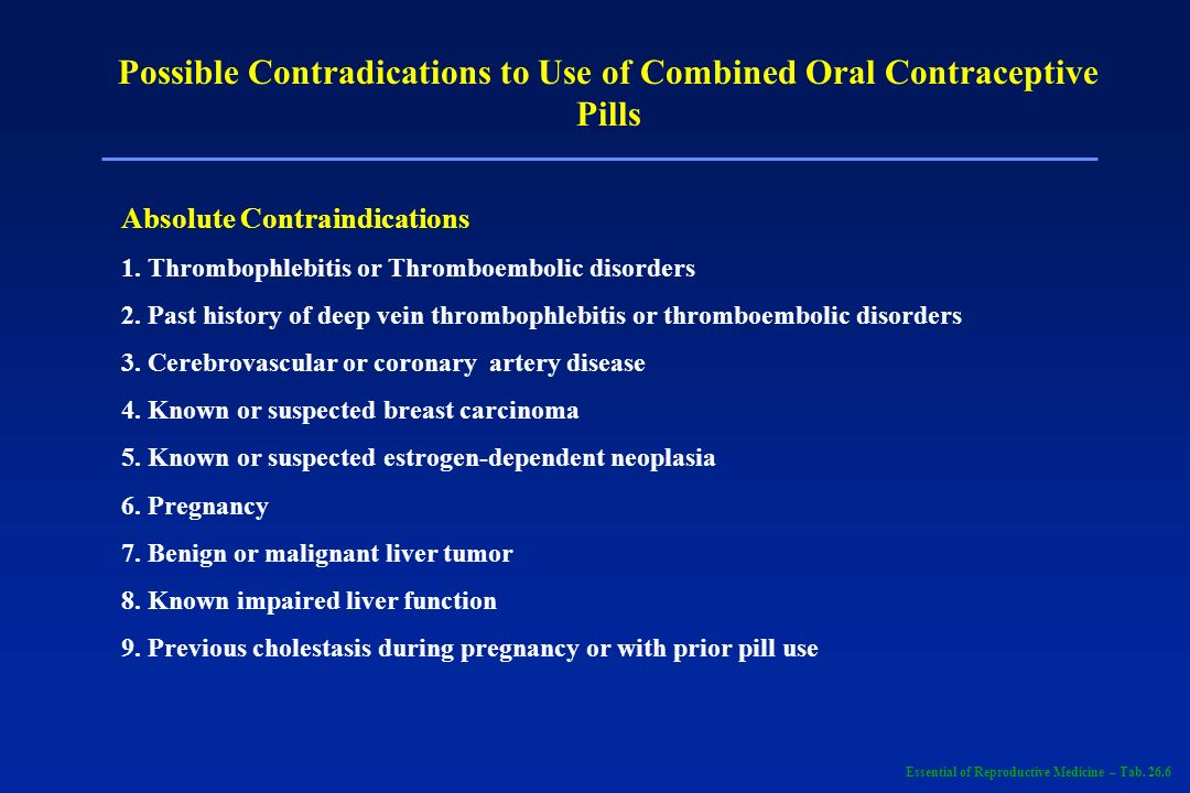 Possible Contradications to Use of Combined Oral Contraceptive Pills Absolute Contraindications 1. Thrombophlebitis or Thromboembolic disorders 2. Pas