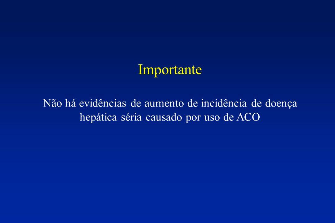 Importante Não há evidências de aumento de incidência de doença hepática séria causado por uso de ACO