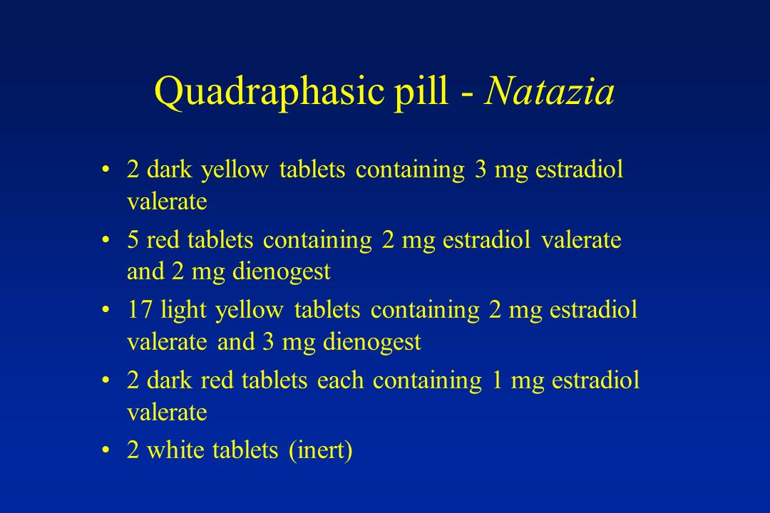 Quadraphasic pill - Natazia 2 dark yellow tablets containing 3 mg estradiol valerate 5 red tablets containing 2 mg estradiol valerate and 2 mg dienoge