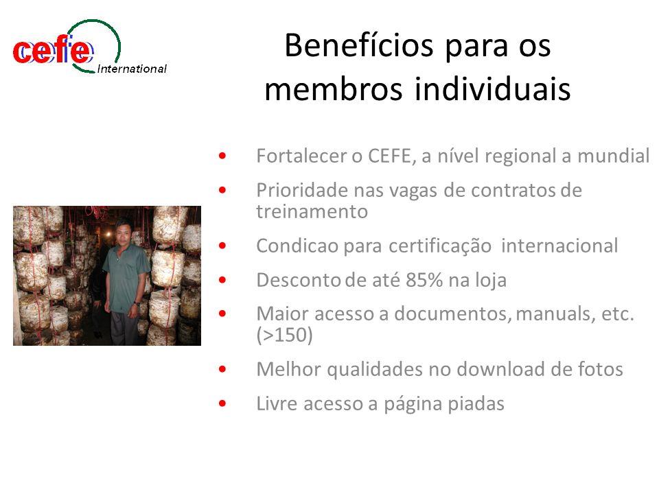 Benefícios para as organizações filiadas Todos os benefícios dos membros individuais, MAIS… 5 filiações individuais gratuitas Prioridade de participação em concorrências Link próprio ao website Facilita a certificação CEFE para a organização