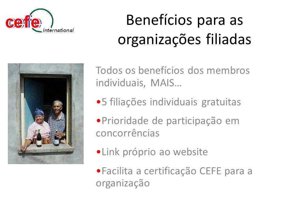 Benefícios para as organizações filiadas Todos os benefícios dos membros individuais, MAIS… 5 filiações individuais gratuitas Prioridade de participaç