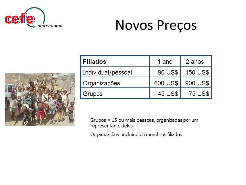 Novos Preços Filiados1 ano2 anos Individual/pessoal 90 US$150 US$ Organizações600 US$900 US$ Grupos45 US$75 US$ Grupos = 15 ou mais pessoas, organizad