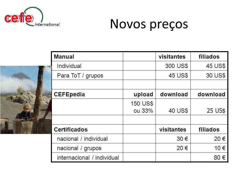 Novos preços Manualvisitantes filiados Individual300 US$45 US$ Para ToT / grupos45 US$30 US$ CEFEpediauploaddownload 150 US$ ou 33%40 US$ 25 US$ Certi
