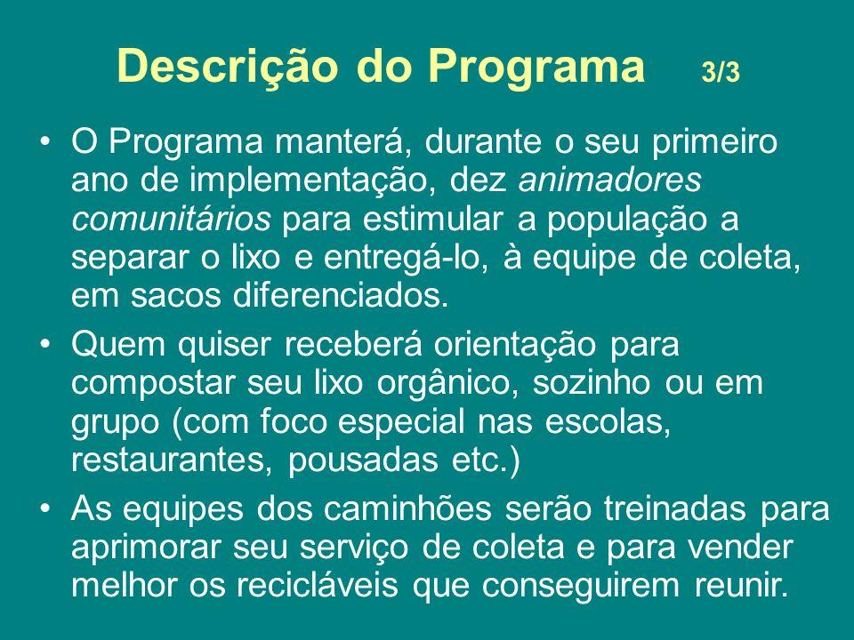 Descrição do Programa 3/3 O Programa manterá, durante o seu primeiro ano de implementação, dez animadores comunitários para estimular a população a se