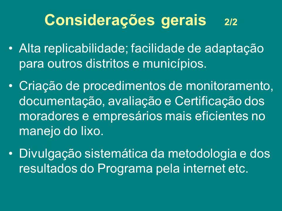 Considerações gerais 2/2 Alta replicabilidade; facilidade de adaptação para outros distritos e municípios. Criação de procedimentos de monitoramento,