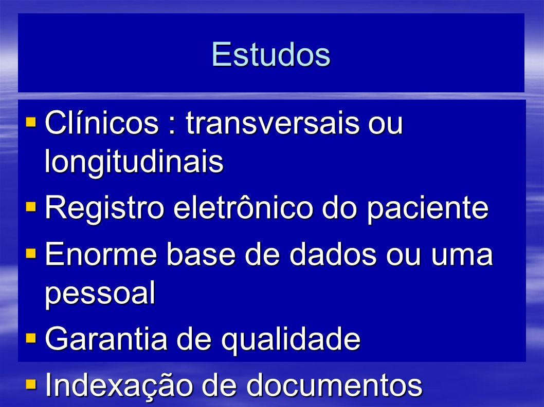 Estudos Clínicos : transversais ou longitudinais Clínicos : transversais ou longitudinais Registro eletrônico do paciente Registro eletrônico do pacie