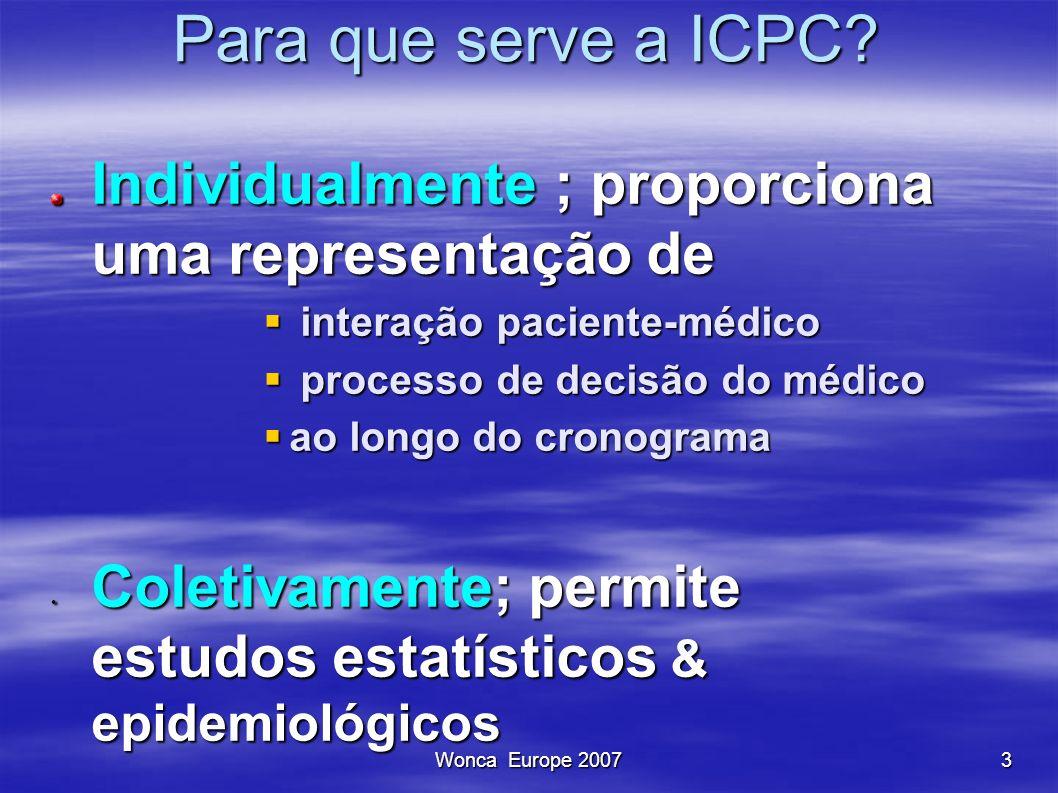 Wonca Europe 20073 Para que serve a ICPC? Para que serve a ICPC? Individualmente ; proporciona uma representação de interação paciente-médico interaçã