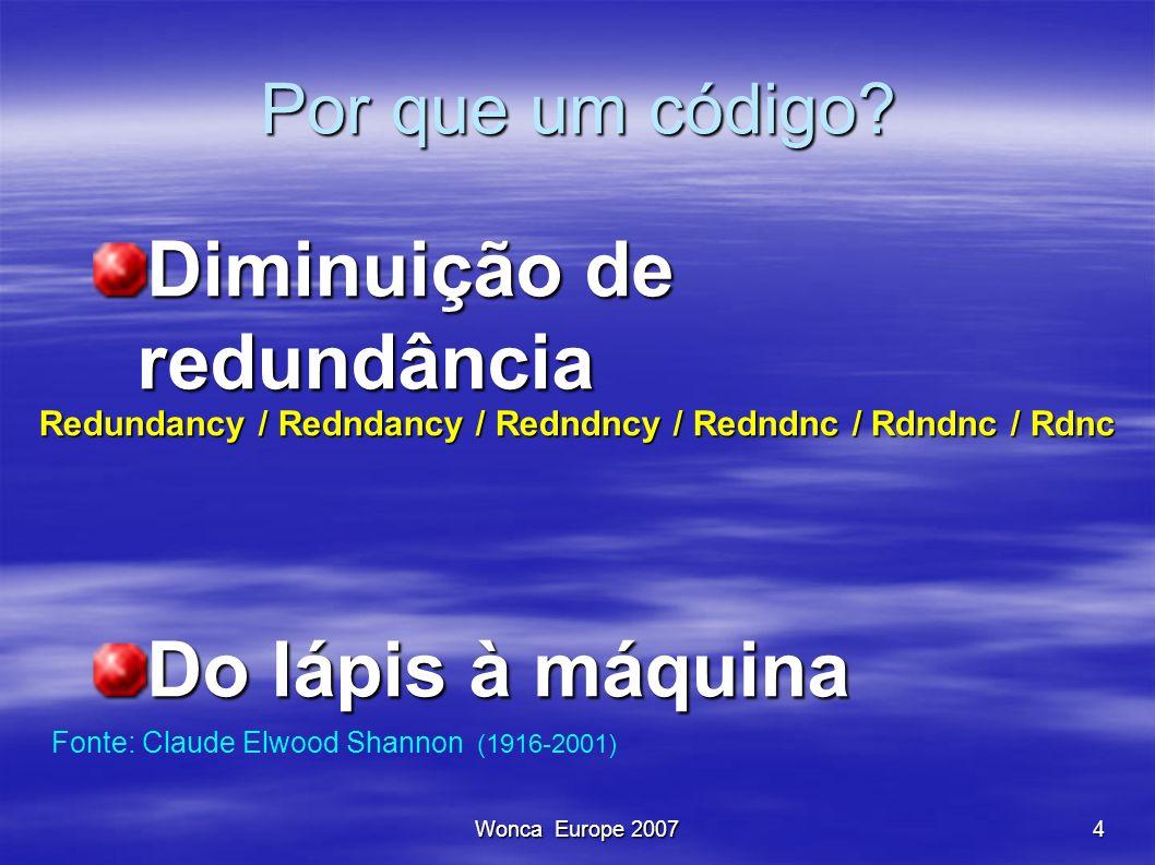 Wonca Europe 20074 Por que um código? Por que um código? Diminuição de redundância Do lápis à máquina Redundancy / Redndancy / Redndncy / Redndnc / Rd