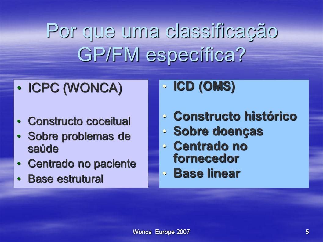 Wonca Europe 20075 Por que uma classificação GP/FM específica? ICPC (WONCA) ICPC (WONCA) Constructo coceitual Constructo coceitual Sobre problemas de