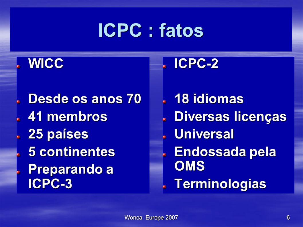 Wonca Europe 20076 ICPC : fatos WICC Desde os anos 70 41 membros 25 países 5 continentes Preparando a ICPC-3 ICPC-2 18 idiomas Diversas licenças Unive