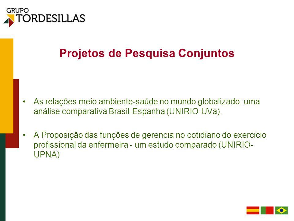 Projetos de Pesquisa Conjuntos As relações meio ambiente-saúde no mundo globalizado: uma análise comparativa Brasil-Espanha (UNIRIO-UVa). A Proposição