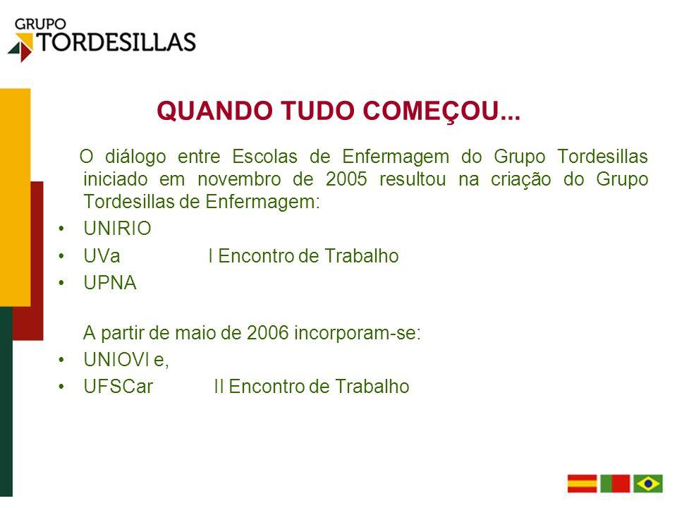 QUANDO TUDO COMEÇOU... O diálogo entre Escolas de Enfermagem do Grupo Tordesillas iniciado em novembro de 2005 resultou na criação do Grupo Tordesilla
