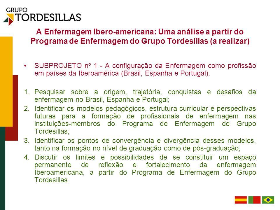 A Enfermagem Ibero-americana: Uma análise a partir do Programa de Enfermagem do Grupo Tordesillas (a realizar) SUBPROJETO nº 1 - A configuração da Enf