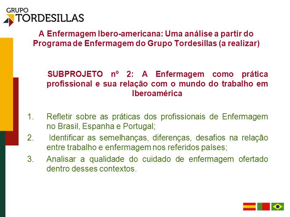 A Enfermagem Ibero-americana: Uma análise a partir do Programa de Enfermagem do Grupo Tordesillas (a realizar) SUBPROJETO nº 2: A Enfermagem como prát