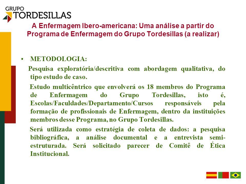 A Enfermagem Ibero-americana: Uma análise a partir do Programa de Enfermagem do Grupo Tordesillas (a realizar) METODOLOGIA: Pesquisa exploratória/desc