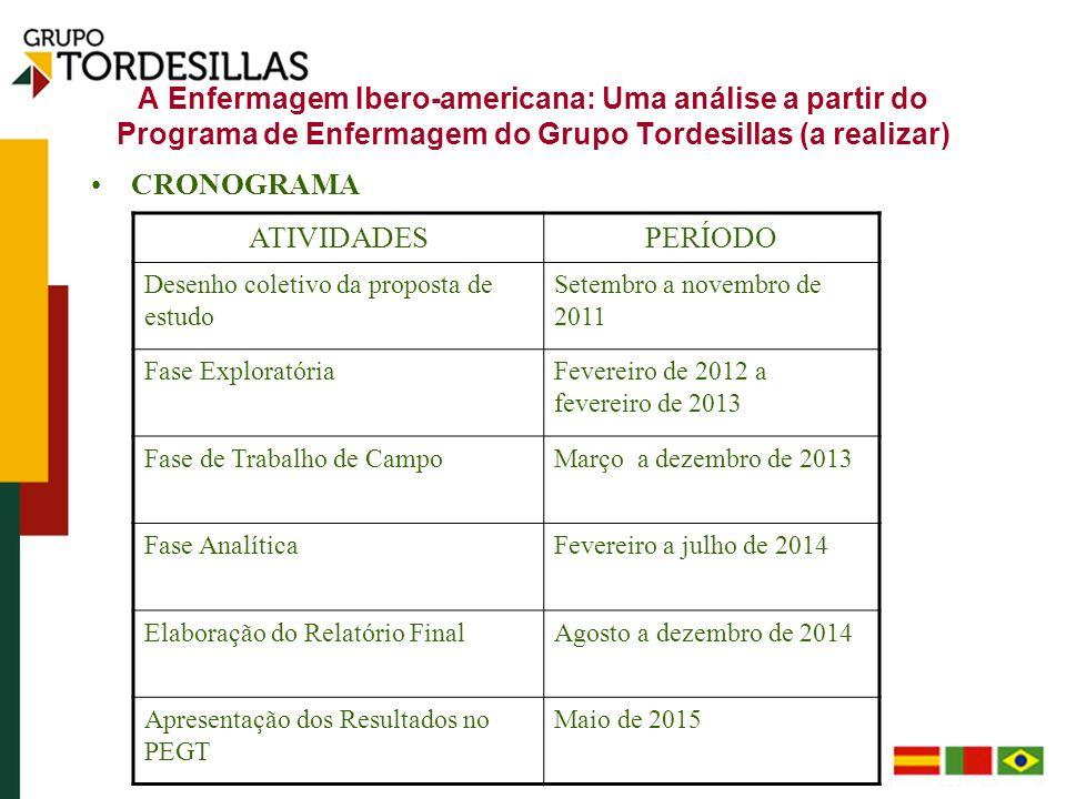 A Enfermagem Ibero-americana: Uma análise a partir do Programa de Enfermagem do Grupo Tordesillas (a realizar) CRONOGRAMA ATIVIDADESPERÍODO Desenho co