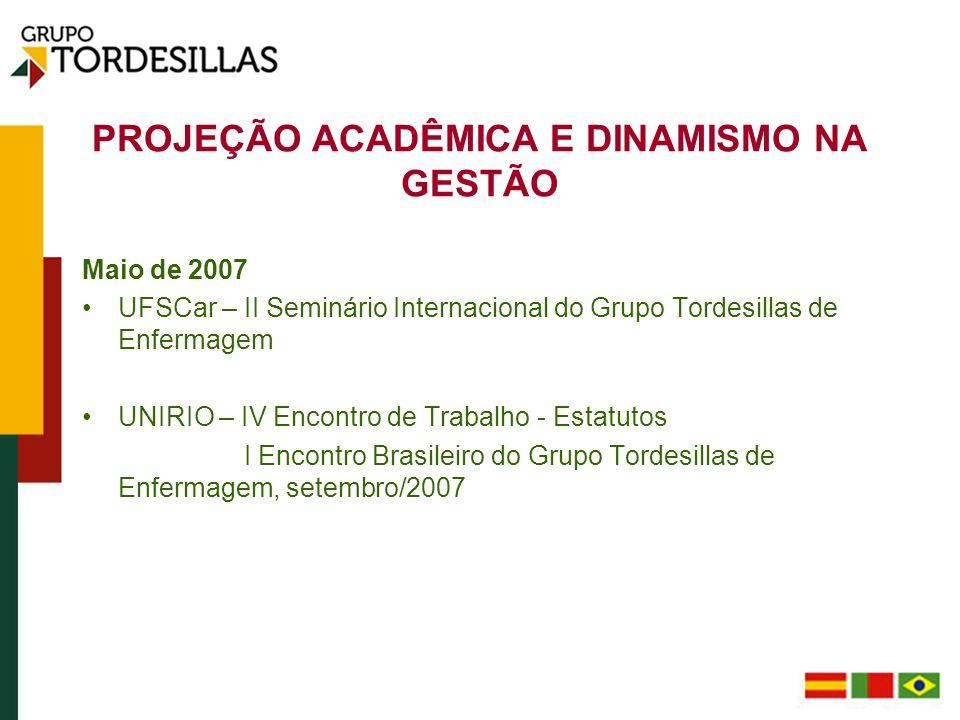 PROJEÇÃO ACADÊMICA E DINAMISMO NA GESTÃO Maio de 2008 UNIOVI - III Seminário Internacional do Grupo Tordesillas de Enfermagem; V Encontro de Trabalho: Altera-se a denominação do GTE para Programa de Enfermagem do Grupo Tordesillas - PEGT.