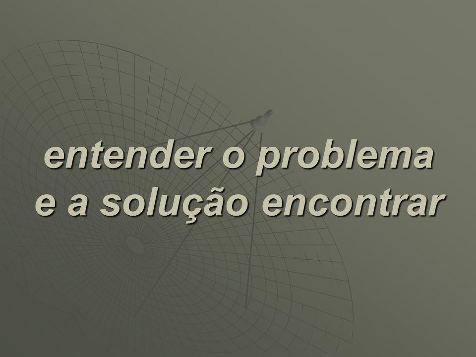 entender o problema e a solução encontrar