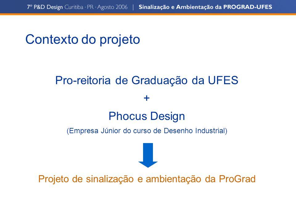 Contexto do projeto Pro-reitoria de Graduação da UFES + Phocus Design (Empresa Júnior do curso de Desenho Industrial) Projeto de sinalização e ambient