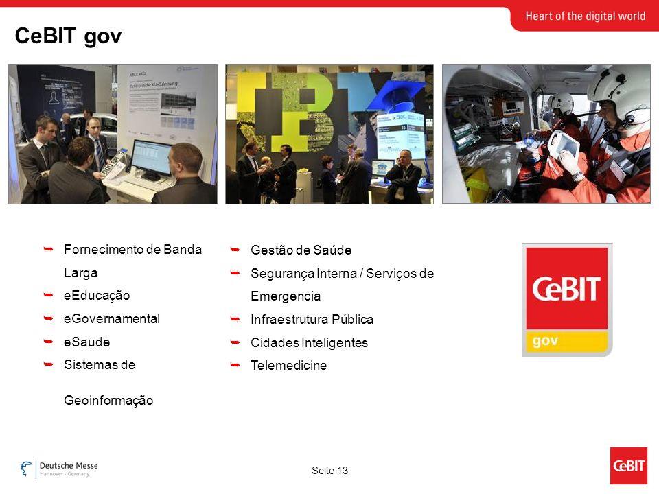 Seite 13 Fornecimento de Banda Larga eEducação eGovernamental eSaude Sistemas de Geoinformação Gestão de Saúde Segurança Interna / Serviços de Emergencia Infraestrutura Pública Cidades Inteligentes Telemedicine CeBIT gov