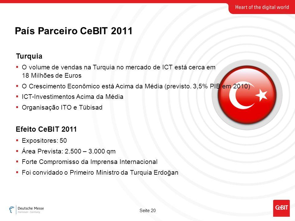 Seite 20 País Parceiro CeBIT 2011 Turquia O volume de vendas na Turquia no mercado de ICT está cerca em 18 Milhões de Euros O Crescimento Econômico está Acima da Média (previsto.