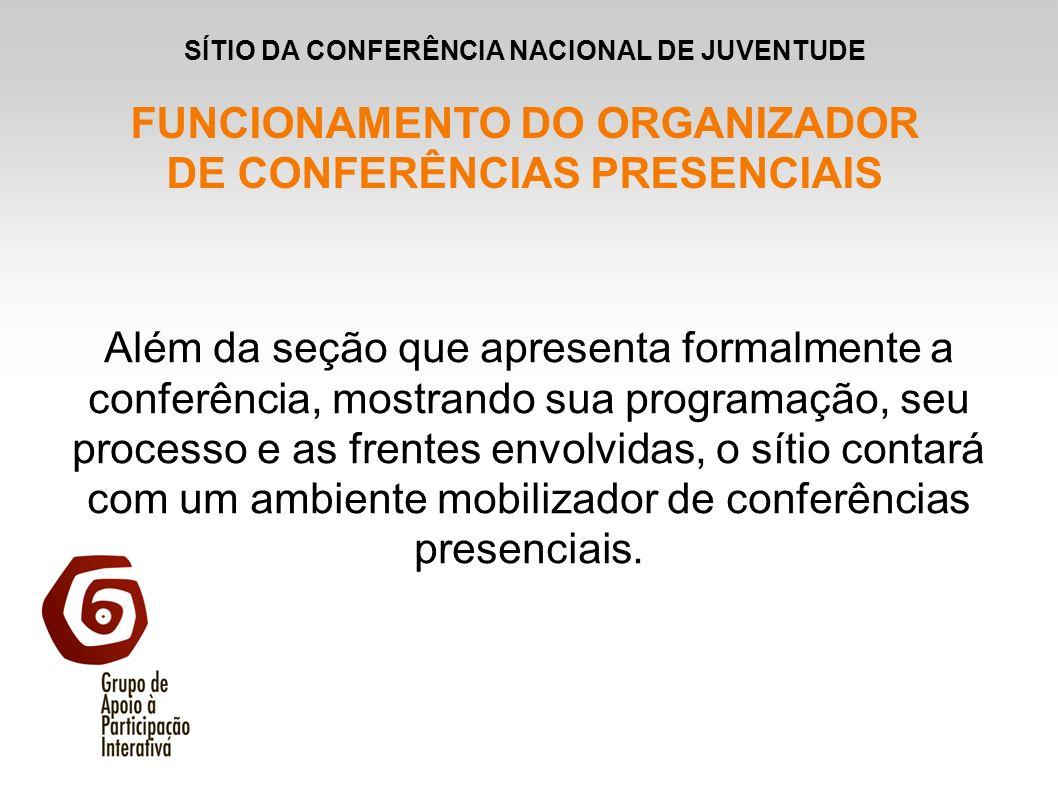 Além da seção que apresenta formalmente a conferência, mostrando sua programação, seu processo e as frentes envolvidas, o sítio contará com um ambient