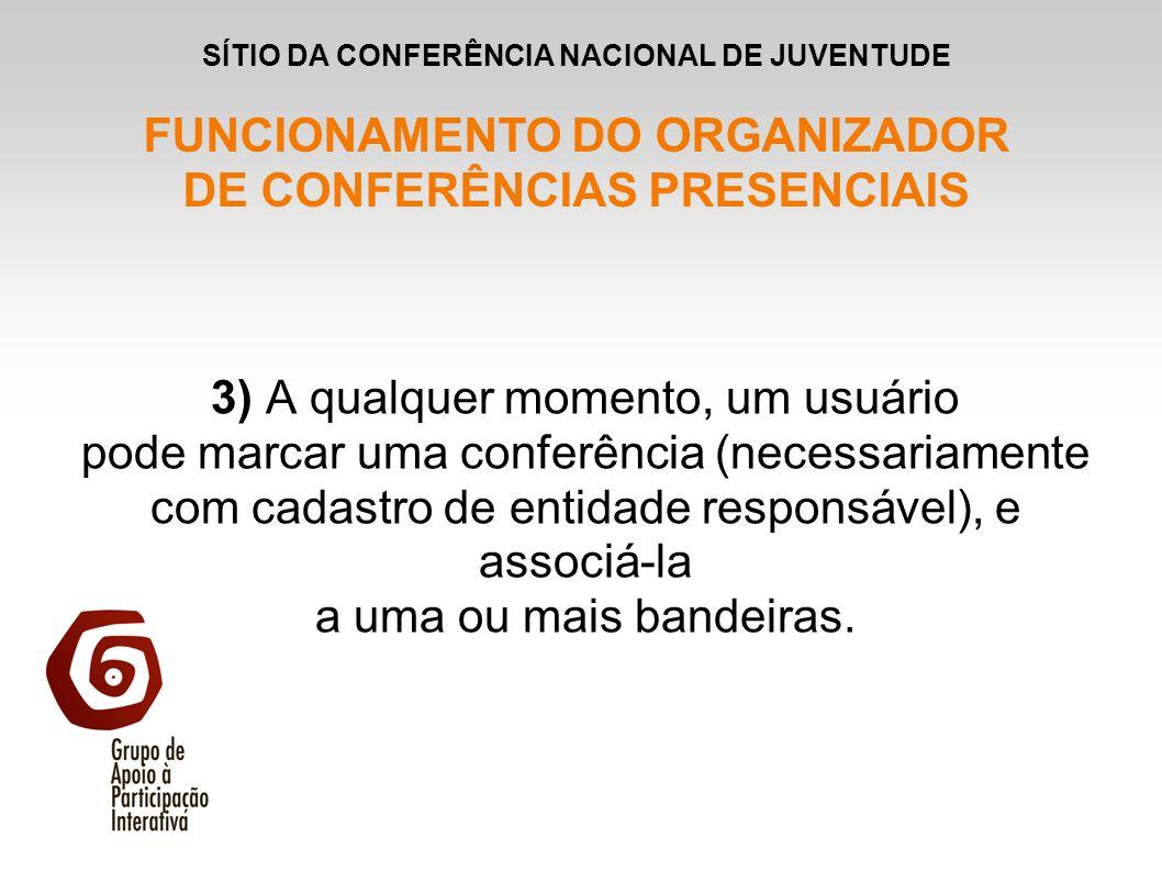3) A qualquer momento, um usuário pode marcar uma conferência (necessariamente com cadastro de entidade responsável), e associá-la a uma ou mais bande