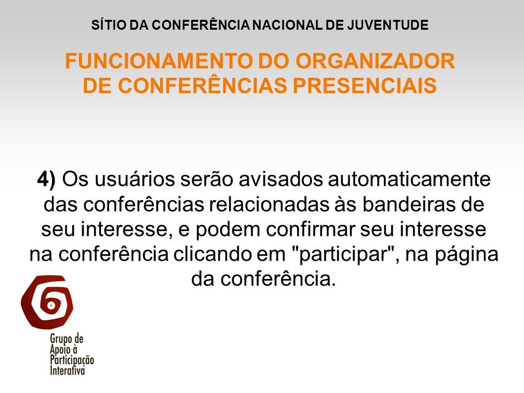 4) Os usuários serão avisados automaticamente das conferências relacionadas às bandeiras de seu interesse, e podem confirmar seu interesse na conferên