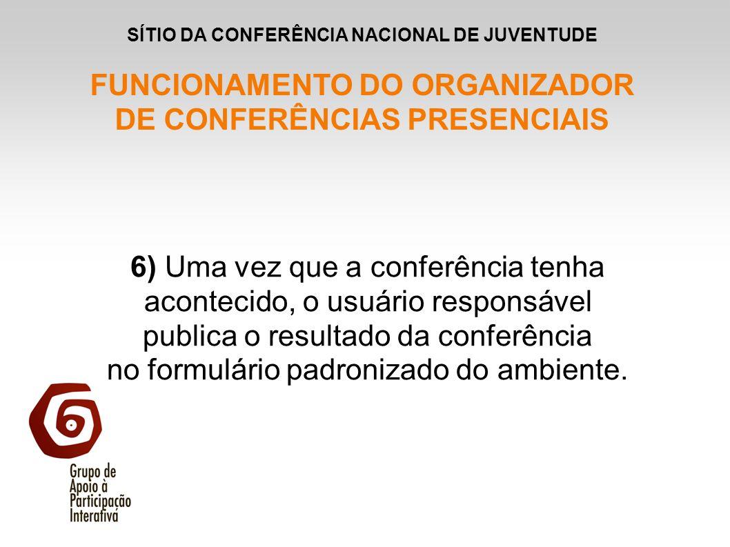 6) Uma vez que a conferência tenha acontecido, o usuário responsável publica o resultado da conferência no formulário padronizado do ambiente. SÍTIO D