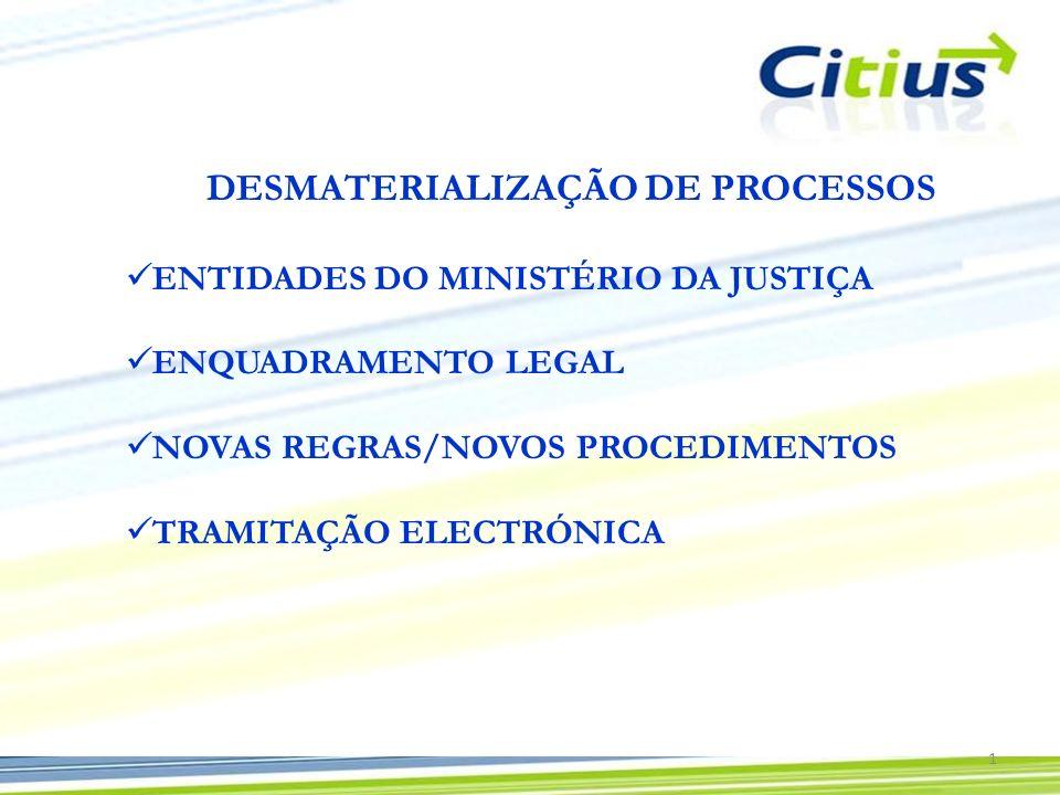 DESMATERIALIZAÇÃO DE PROCESSOS ENTIDADES DO MINISTÉRIO DA JUSTIÇA ENQUADRAMENTO LEGAL NOVAS REGRAS/NOVOS PROCEDIMENTOS TRAMITAÇÃO ELECTRÓNICA 1