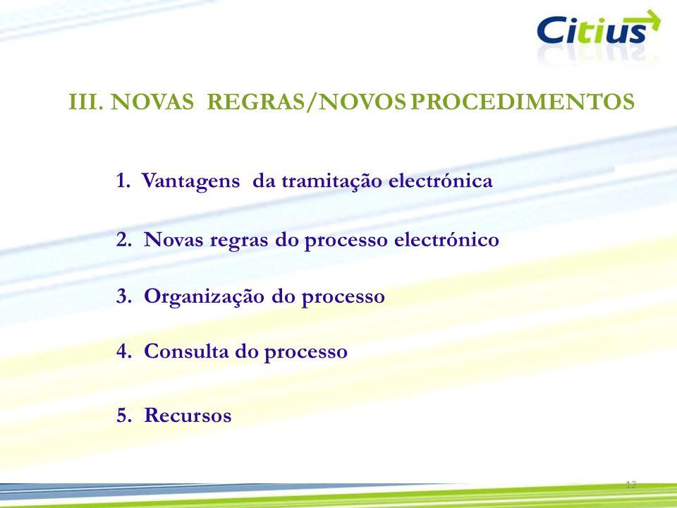 III.NOVAS REGRAS/NOVOS PROCEDIMENTOS 1.Vantagens da tramitação electrónica 2. Novas regras do processo electrónico 3. Organização do processo 4. Consu